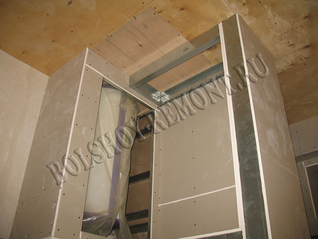 Встроенный шкаф-купе из гипсокартона своими руками 43